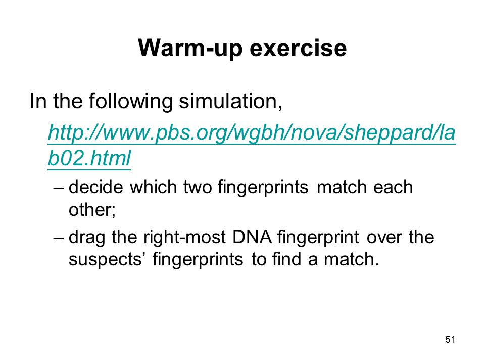 Warm-up exercise In the following simulation,