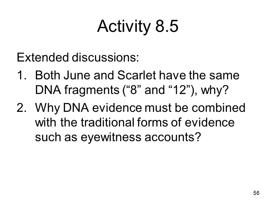 Activity 8.5 Extended discussions: