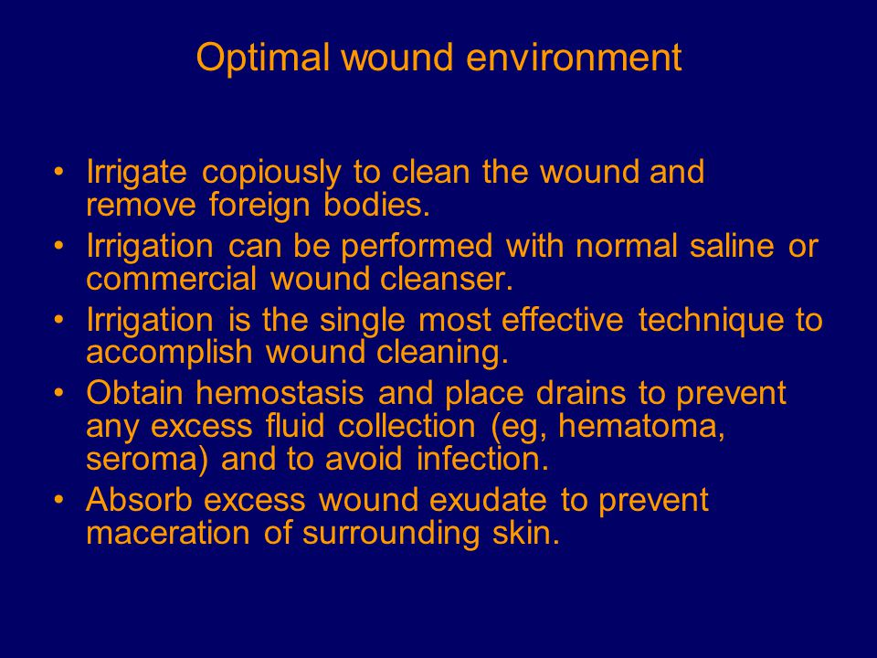 Optimal wound environment