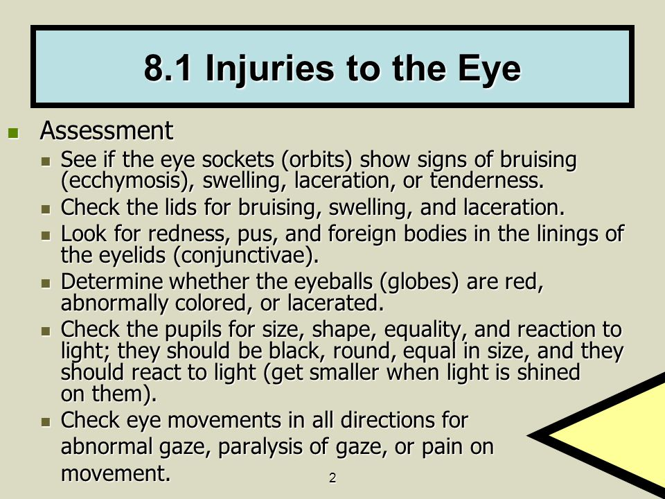 8.1 Injuries to the Eye Assessment
