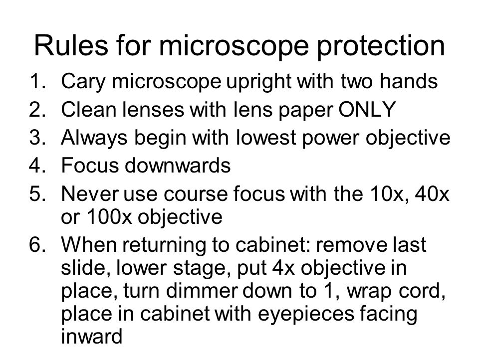 Rules for microscope protection