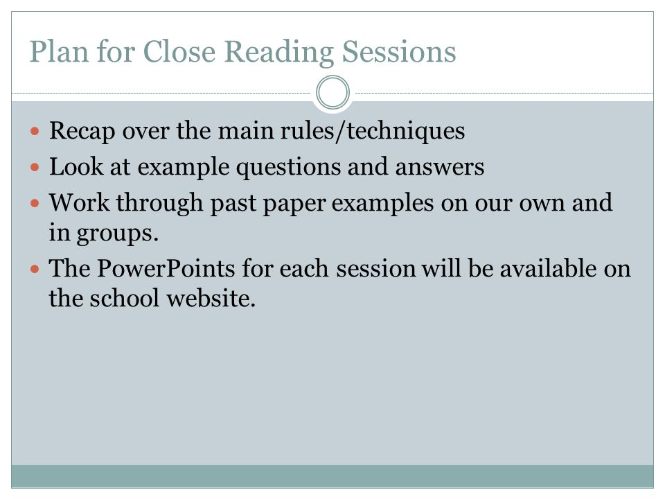 Plan for Close Reading Sessions