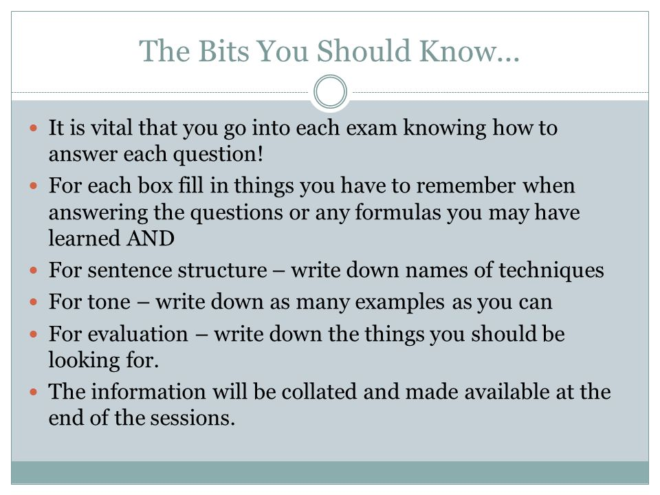 The Bits You Should Know...