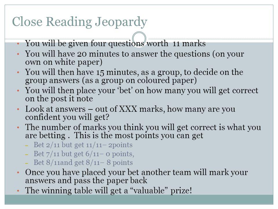 Close Reading Jeopardy