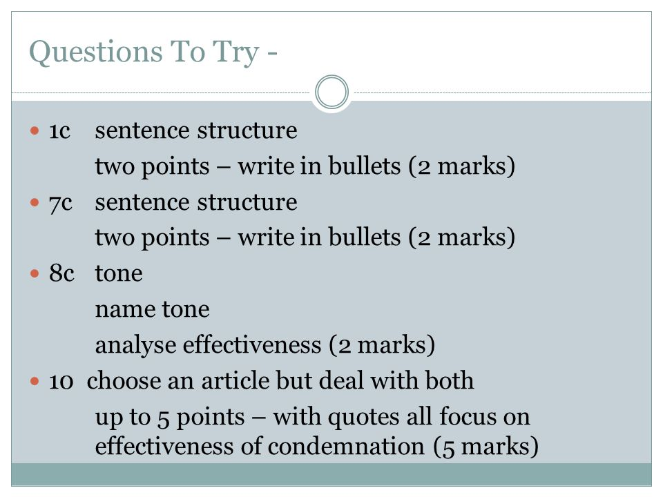 Questions To Try - 1c sentence structure