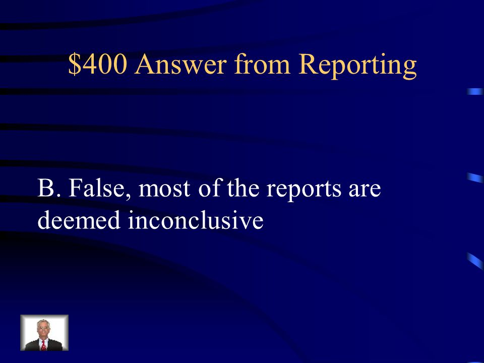 $400 Answer from Reporting
