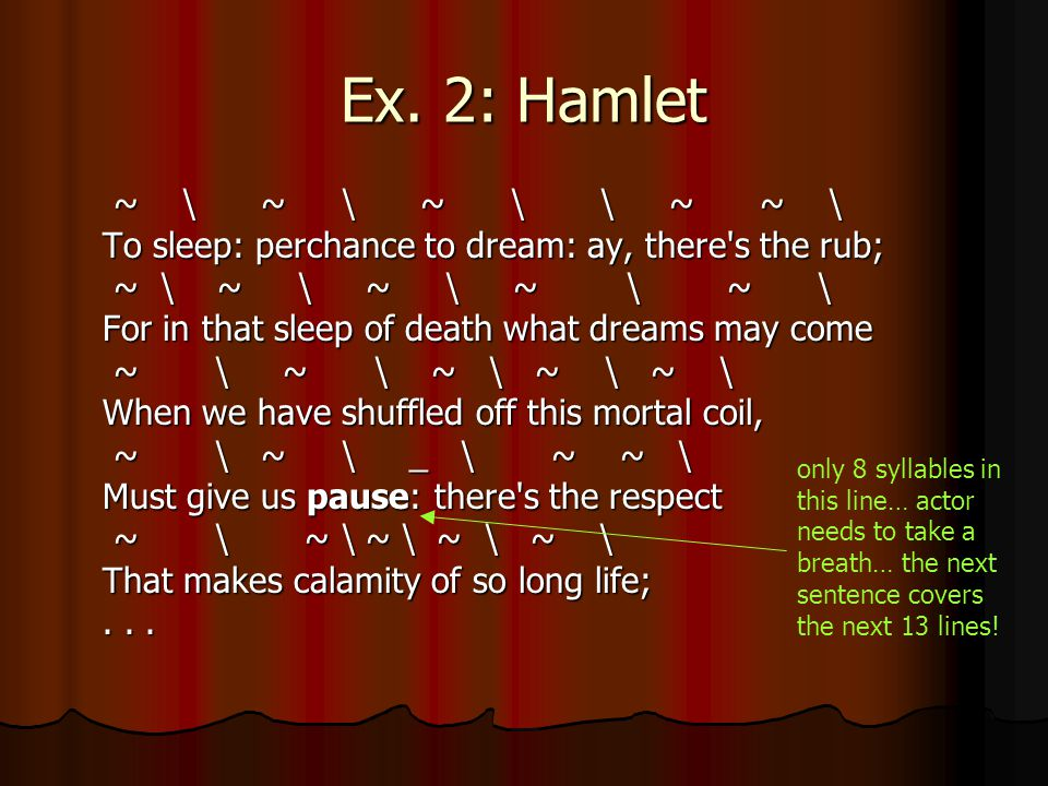 Ex. 2: Hamlet ~ \ ~ \ ~ \ \ ~ ~ \ To sleep: perchance to dream: ay, there s the rub;