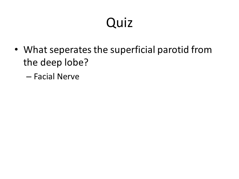 Quiz What seperates the superficial parotid from the deep lobe
