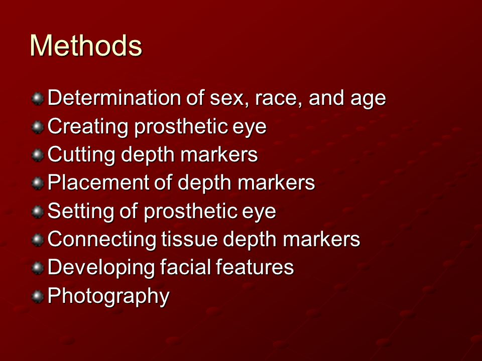Methods Determination of sex, race, and age Creating prosthetic eye