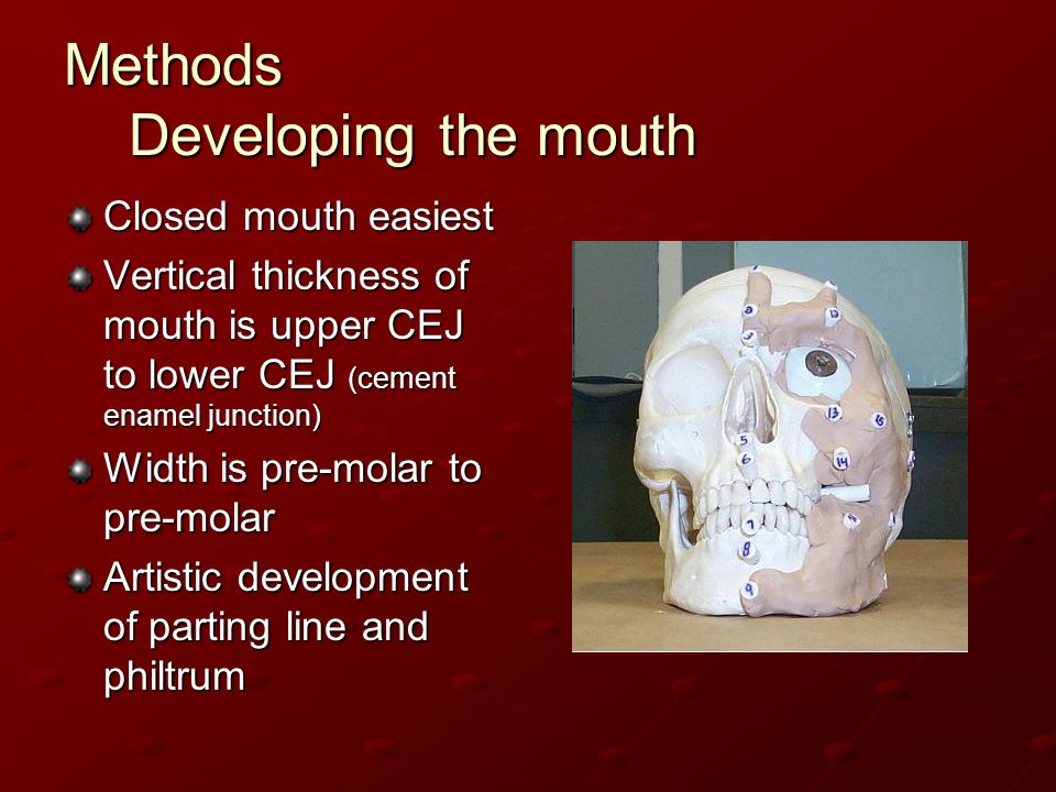 Methods Developing the mouth