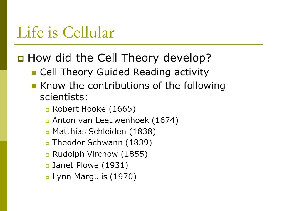 Life is Cellular How did the Cell Theory develop