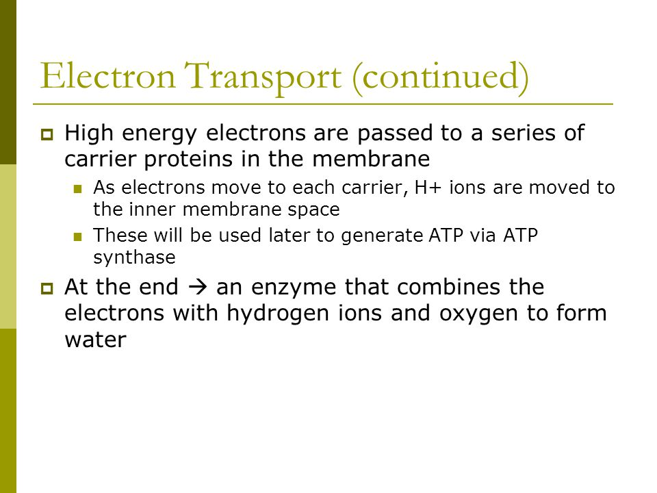 Electron Transport (continued)