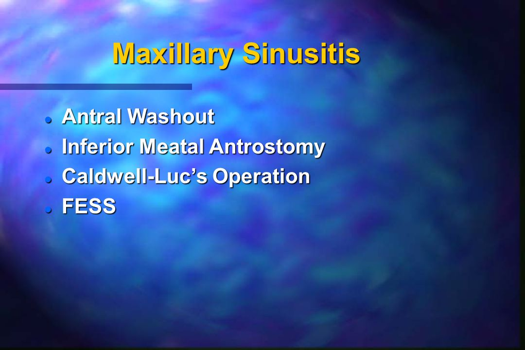 Maxillary Sinusitis Antral Washout Inferior Meatal Antrostomy