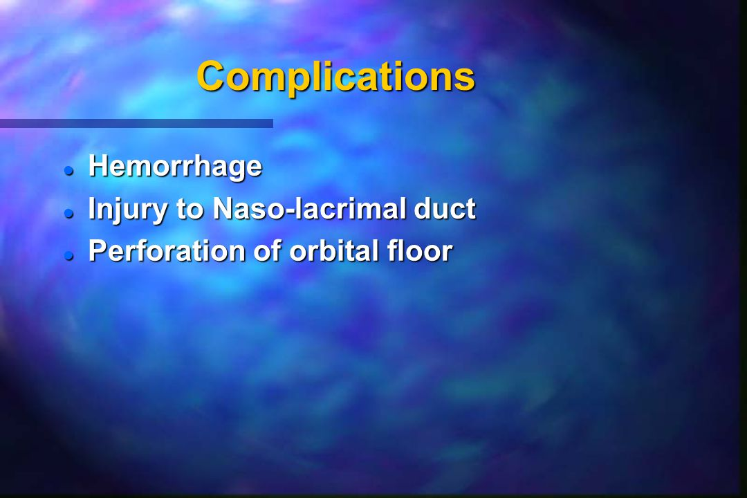 Complications Hemorrhage Injury to Naso-lacrimal duct