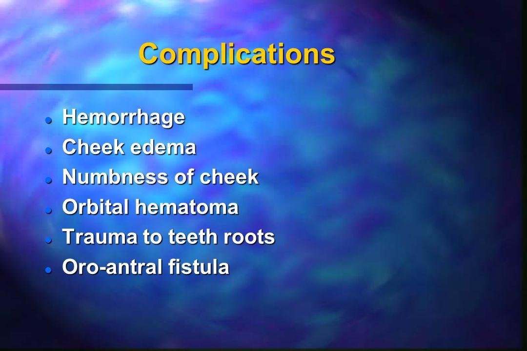 Complications Hemorrhage Cheek edema Numbness of cheek