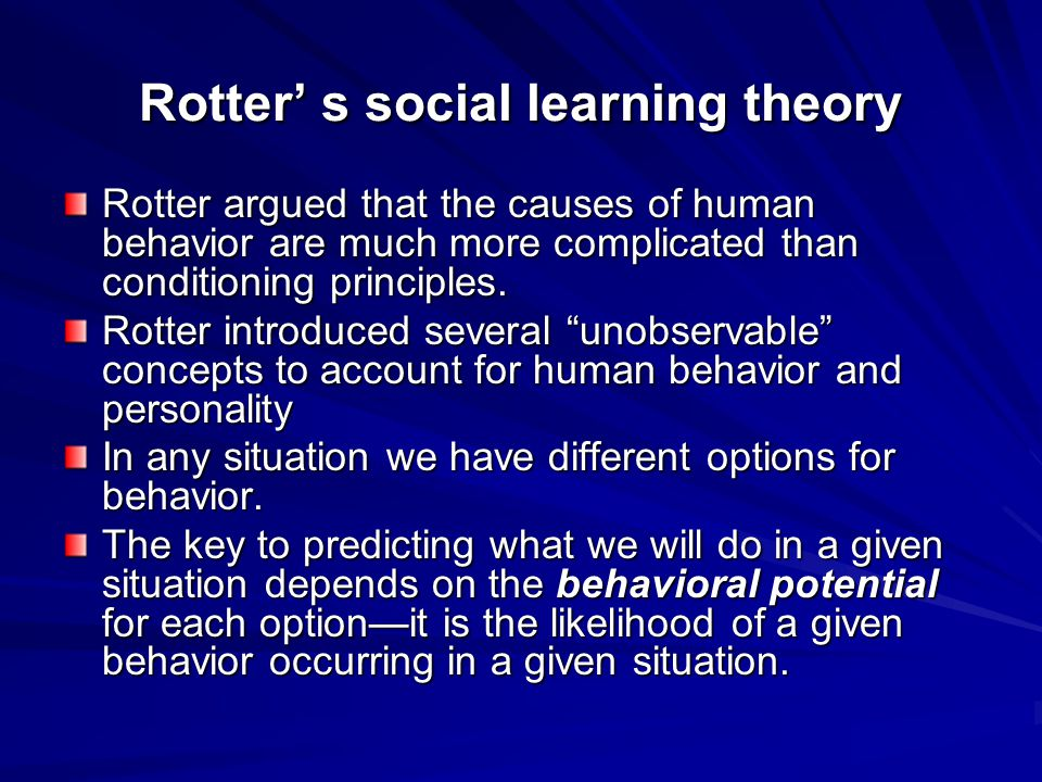 Rotter' s social learning theory