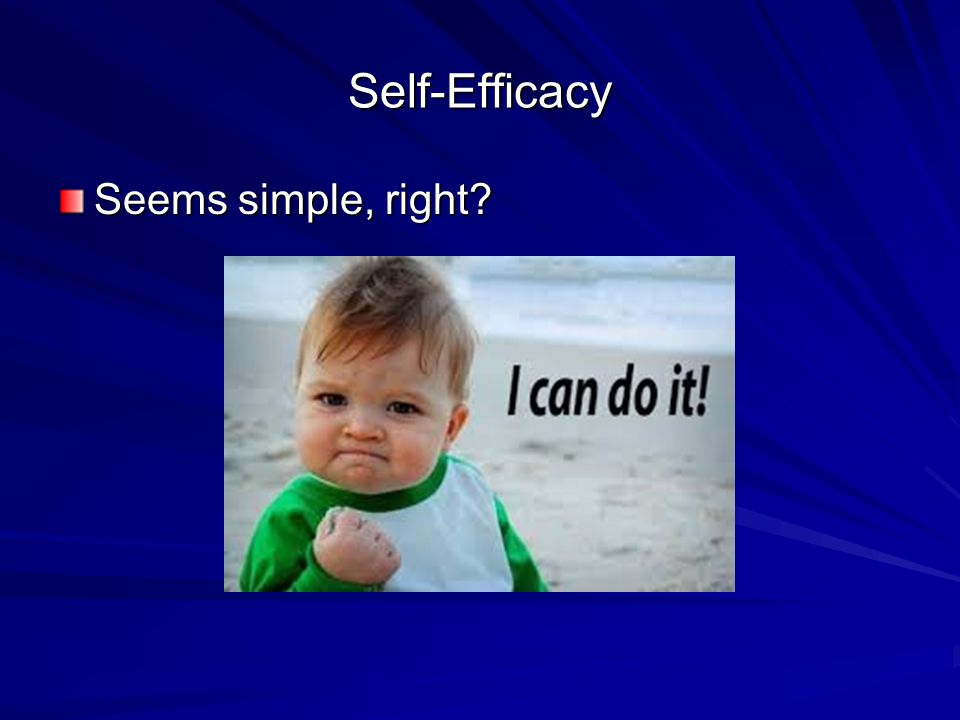 Self-Efficacy Seems simple, right