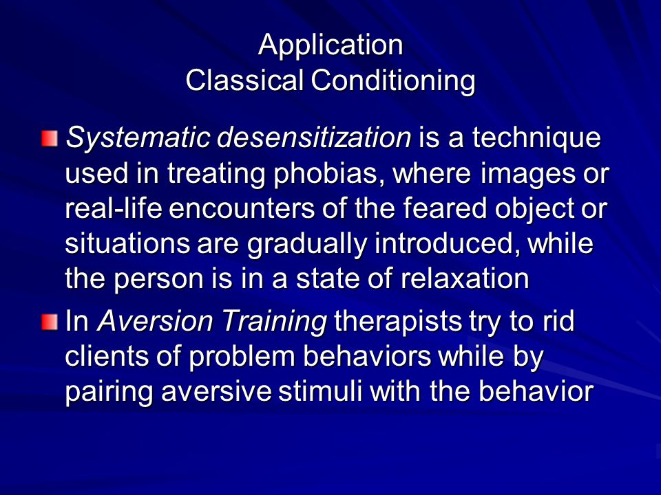 Application Classical Conditioning