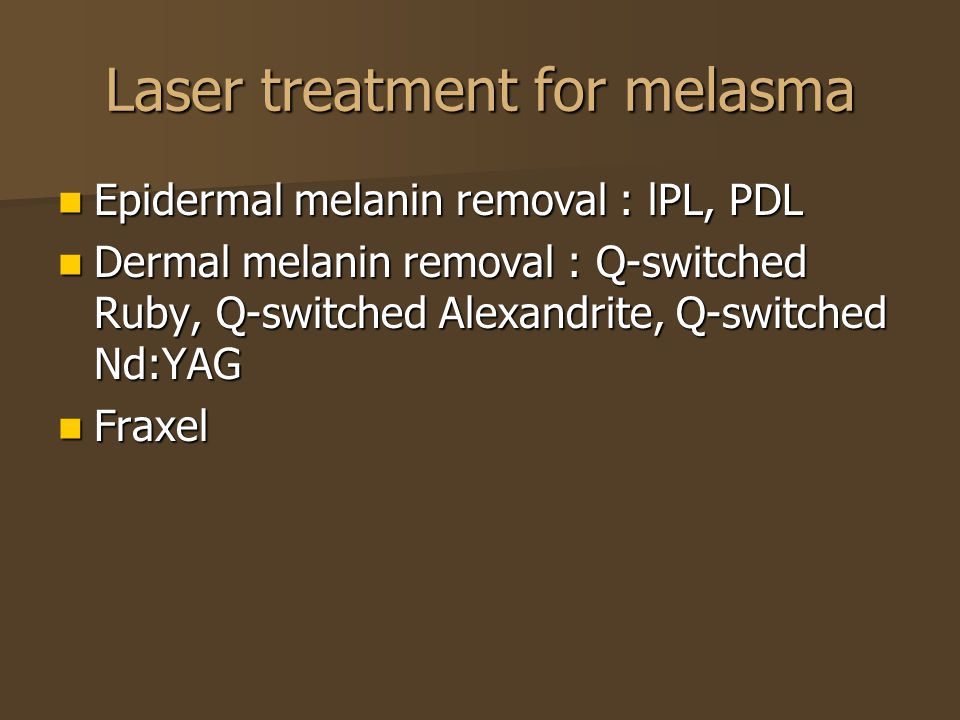 Laser treatment for melasma