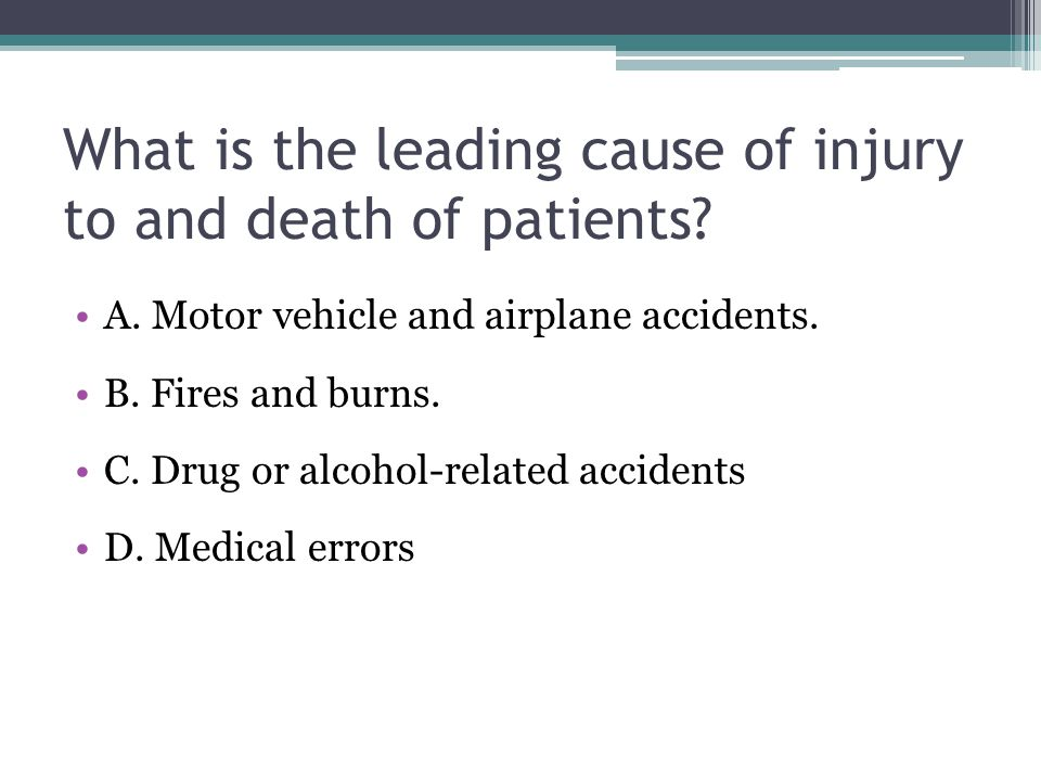 What is the leading cause of injury to and death of patients