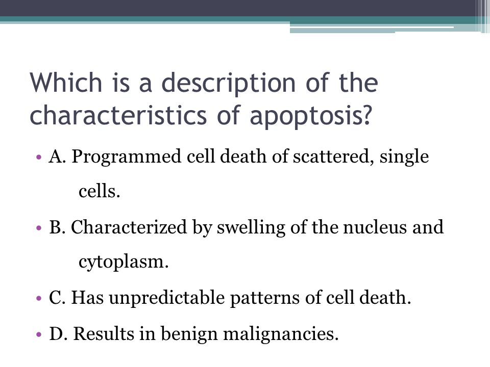 Which is a description of the characteristics of apoptosis