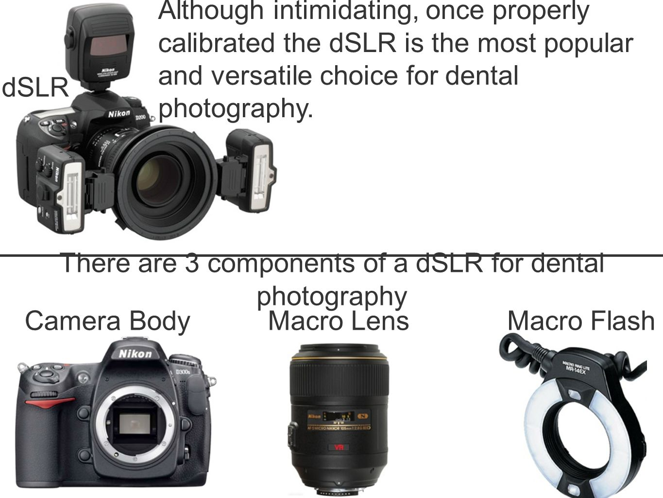 There are 3 components of a dSLR for dental photography