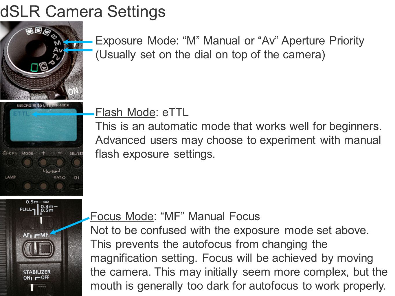 dSLR Camera Settings Exposure Mode: M Manual or Av Aperture Priority. (Usually set on the dial on top of the camera)