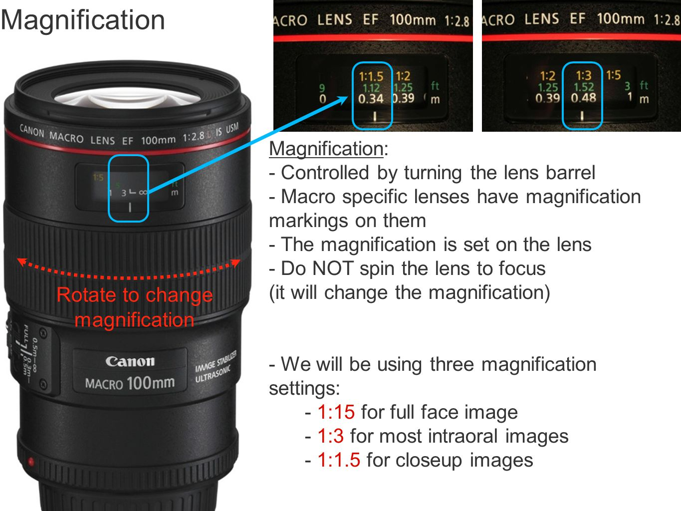 Magnification Rotate to change magnification Magnification:
