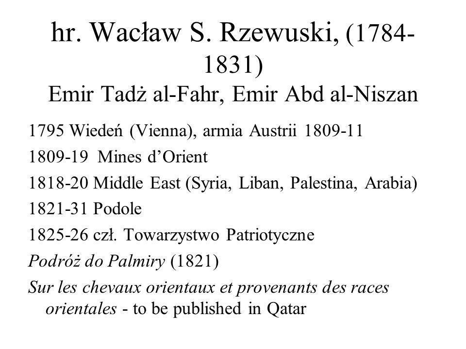 hr. Wacław S. Rzewuski, (1784-1831) Emir Tadż al-Fahr, Emir Abd al-Niszan