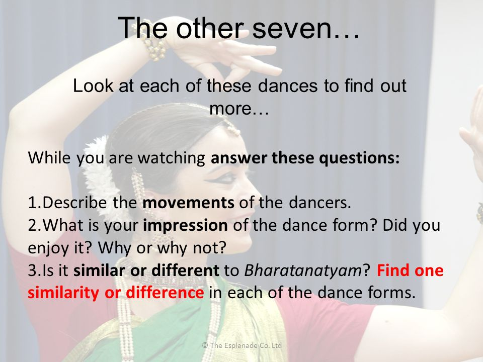 The other seven… Look at each of these dances to find out more…