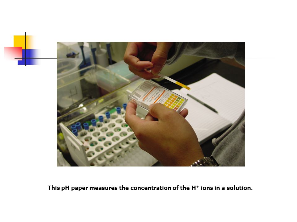 This pH paper measures the concentration of the H+ ions in a solution.