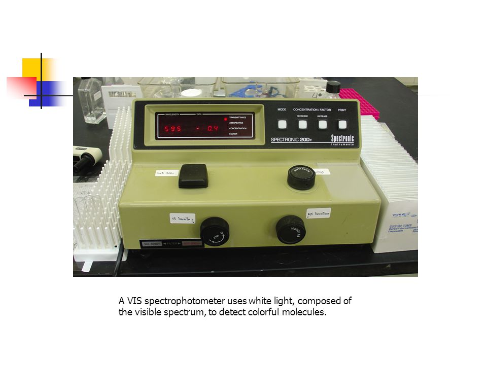 A VIS spectrophotometer uses white light, composed of the visible spectrum, to detect colorful molecules.