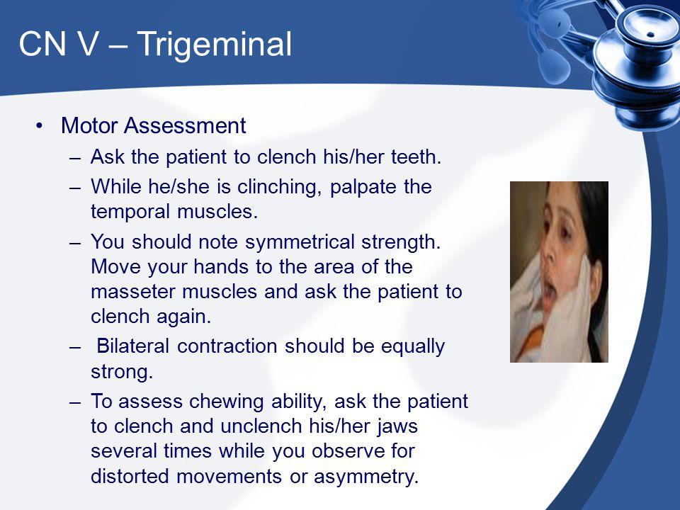 CN V – Trigeminal Motor Assessment