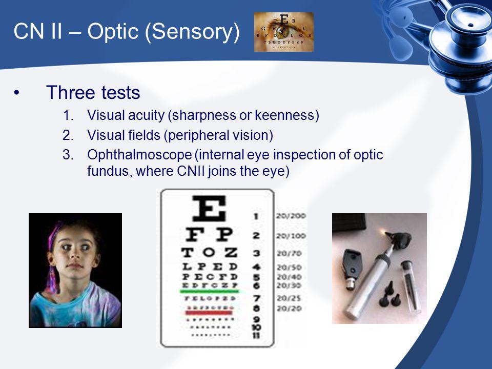 CN II – Optic (Sensory) Three tests