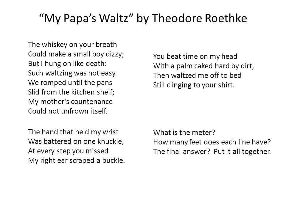 Theodore Roethkes My Papas Waltz and Robert Haydens Those Winter Sunday - Essay Example