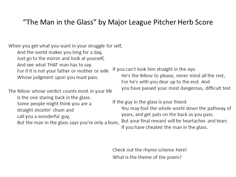 The Man in the Glass by Major League Pitcher Herb Score