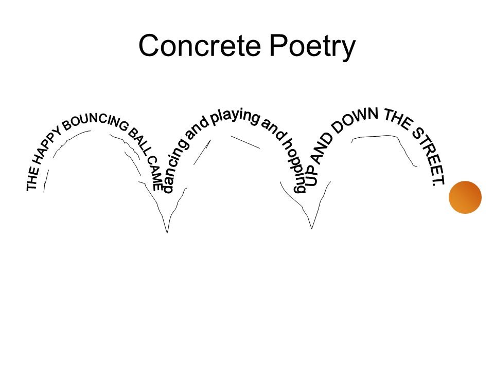 Concrete Poetry dancing and playing and hopping