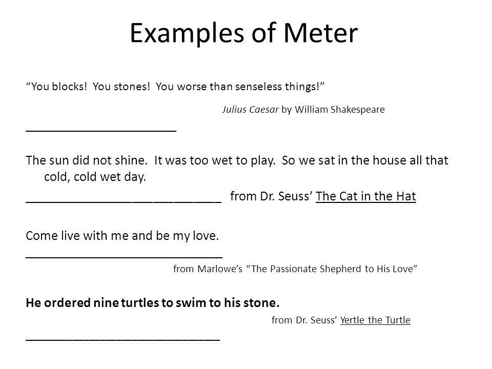 Examples of Meter Julius Caesar by William Shakespeare