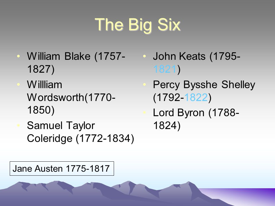 The Big Six William Blake (1757-1827) Willliam Wordsworth(1770-1850)