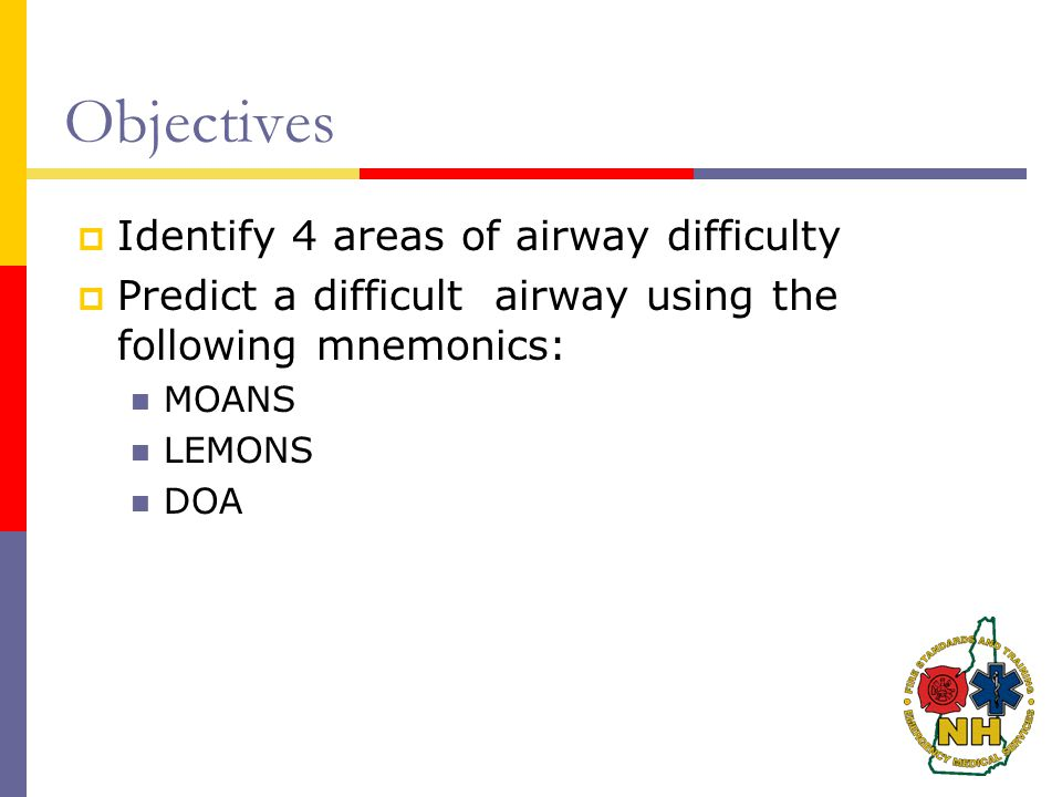 Objectives Identify 4 areas of airway difficulty