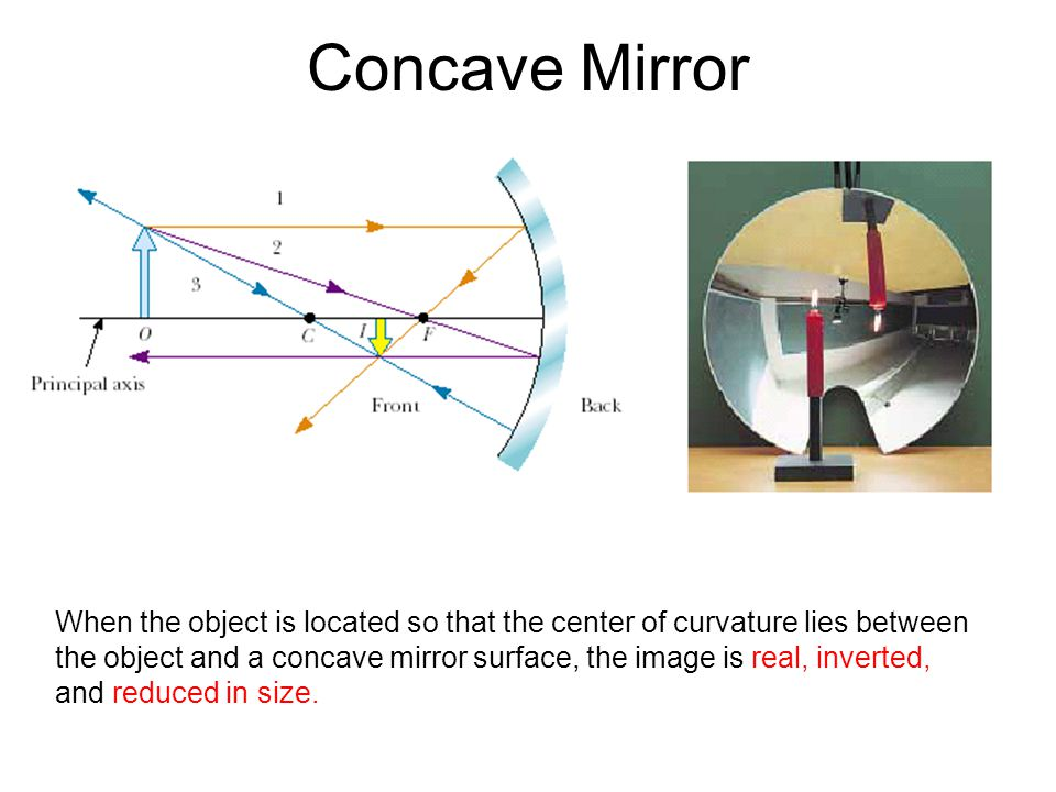 Concave Mirror When the object is located so that the center of curvature lies between.