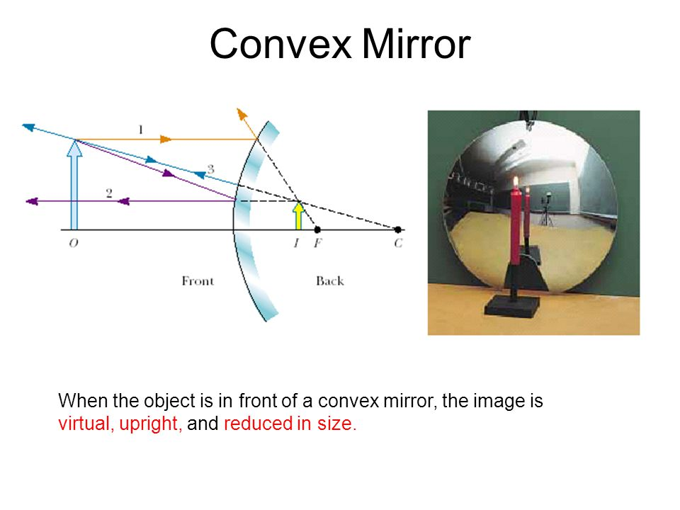 Convex Mirror When the object is in front of a convex mirror, the image is.