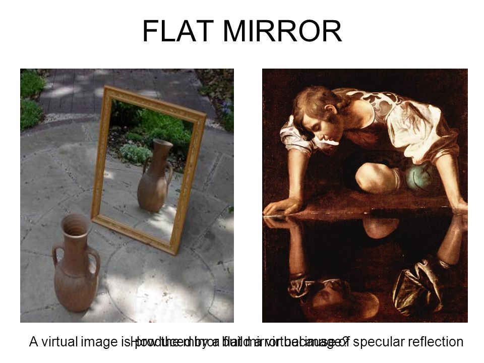 FLAT MIRROR A virtual image is produced by a flat mirror because of specular reflection.