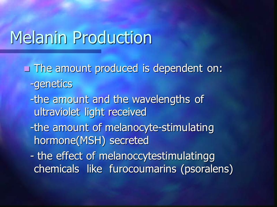 Melanin Production The amount produced is dependent on: -genetics