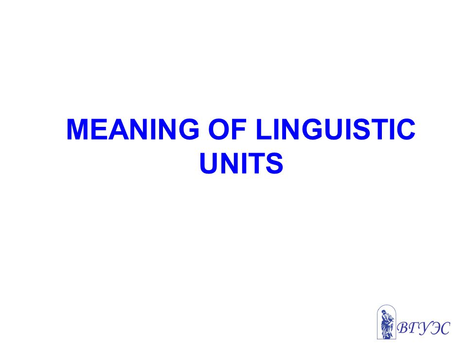 MEANING OF LINGUISTIC UNITS