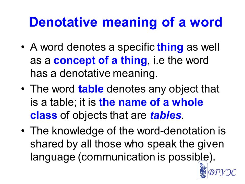 Denotative meaning of a word