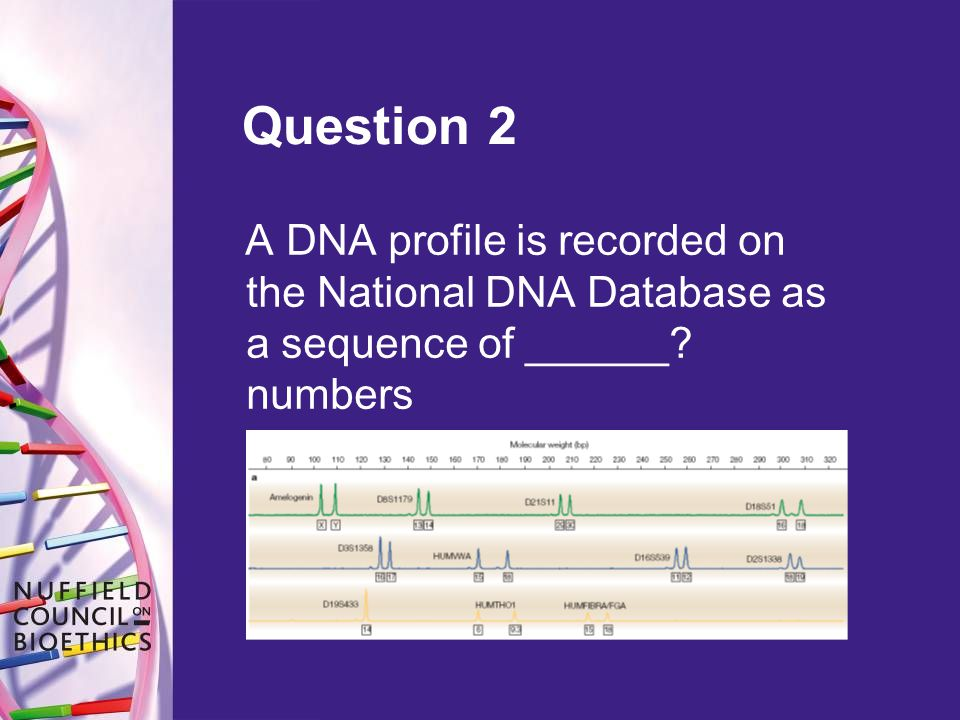 Question 2 A DNA profile is recorded on the National DNA Database as a sequence of ______ numbers