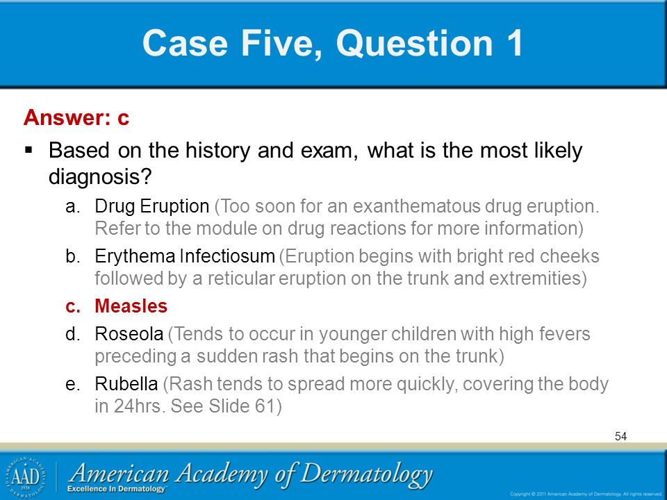 Case Five, Question 1 Answer: c