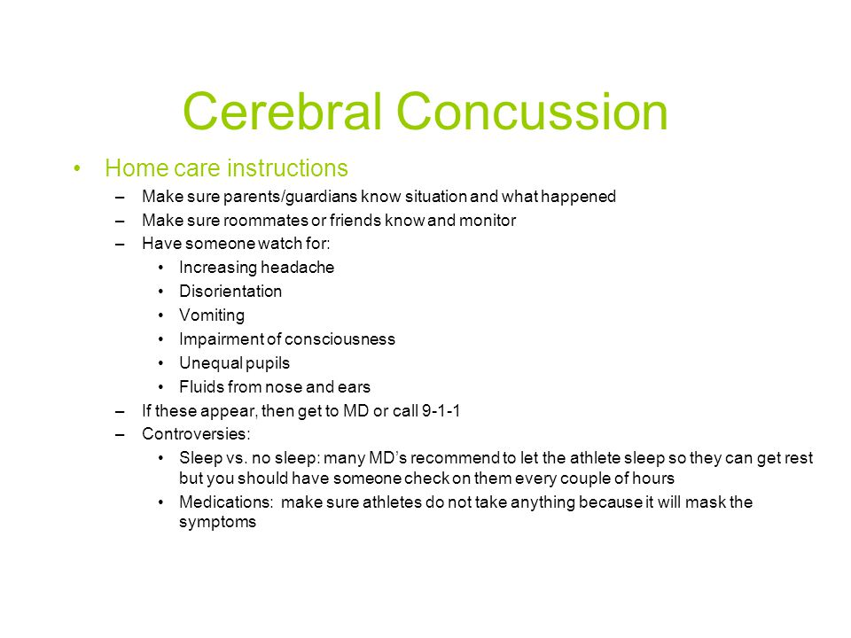 Cerebral Concussion Home care instructions