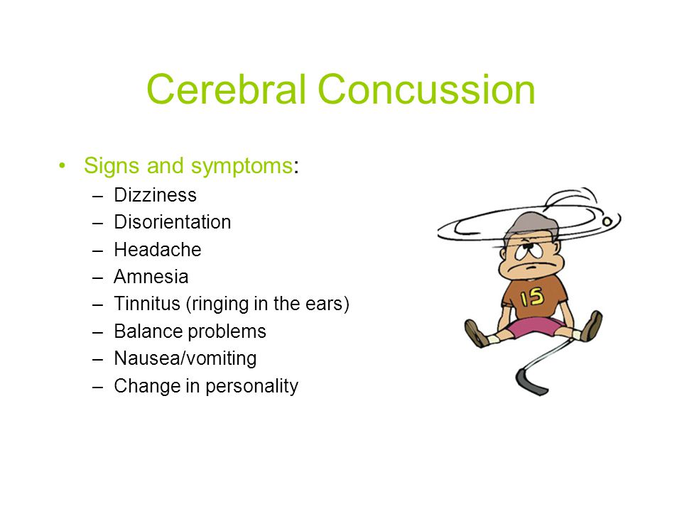 Cerebral Concussion Signs and symptoms: Dizziness Disorientation
